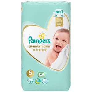 Scutece PAMPERS Premium Care nr 5, Unisex, 11 - 16 kg, 58 buc