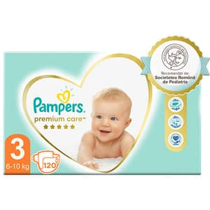 Scutece PAMPERS Premium Care Mega Box nr 3, Unisex, 6-10 kg, 120 buc