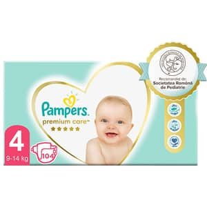 Scutece PAMPERS Premium Care Mega Box nr 4, Unisex, 9-14 kg, 104 buc