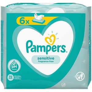 Servetele umede PAMPERS Sensitive, 6 pachete, 312buc
