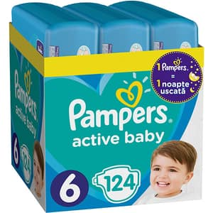 Scutece PAMPERS Active Baby XXL Box nr 6, Unisex, 13-18 kg, 124 buc