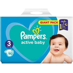 Scutece PAMPERS Active Baby Giant Pack nr 3, Unisex, 6 - 10 kg, 90 buc