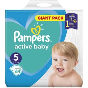 Scutece PAMPERS Active Baby Giant Pack nr 5, Unisex, 11 - 16 kg, 64 buc