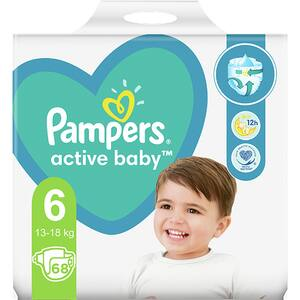 Scutece PAMPERS Active Baby Giant Pack+ nr 6, Unisex, 13-18 kg, 68 buc