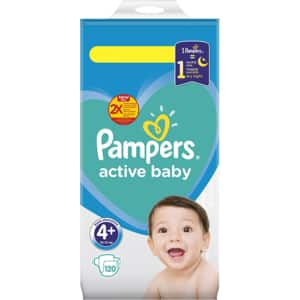 Scutece PAMPERS Active Baby Mega Pack nr 4, Unisex, 10 - 15 kg, 120 buc