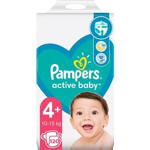 Scutece PAMPERS Active Baby Mega Pack nr 4, Unisex, 10-15 kg, 120 buc