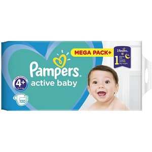 Scutece PAMPERS Active Baby Mega Pack nr 4, Unisex, 10 - 15 kg, 120 buc