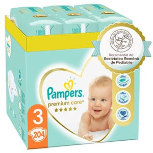 Scutece PAMPERS Premium Care XXL Box nr 3, Unisex, 6-10 kg, 204 buc