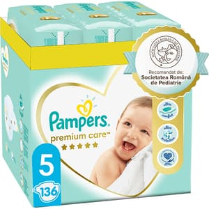 Scutece PAMPERS Premium Care XXL Box nr 5, Unisex, 11-16 kg, 136 buc