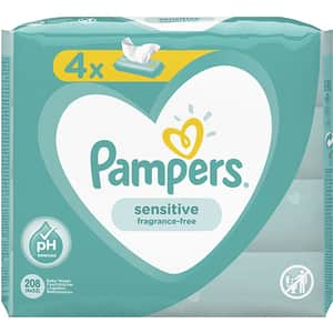 Servetele umede PAMPERS Sensitive, 4 pachete, 208buc