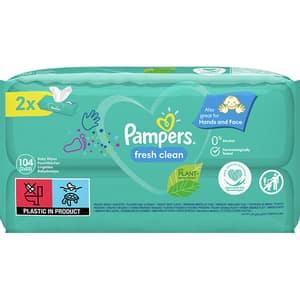Servetele umede PAMPERS Fresh Clean, 2 pachete, 104buc