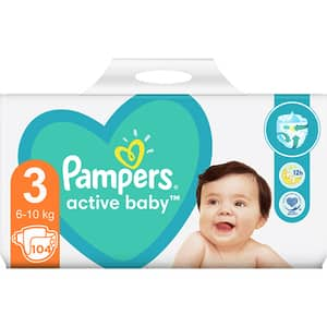 Scutece PAMPERS Active Baby Giant Pack+ nr 3, Unisex, 6-10 kg, 104 buc