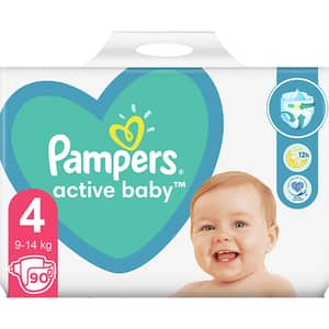Scutece PAMPERS Active Baby Giant Pack+ nr 4, Unisex, 9-14 kg, 90 buc