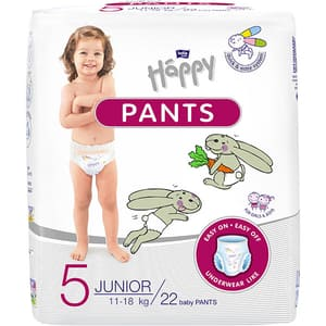 Scutece chilotel HAPPY Junior nr 5, Unisex, 11 - 18 kg, 22 buc