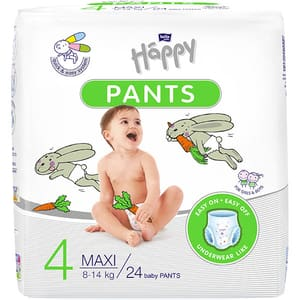 Scutece chilotel HAPPY Junior nr 4, Unisex, 8 - 14 kg, 24 buc