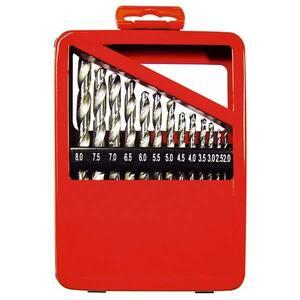 Set burghie pentru metal MTX, 2-8 mm, coada cilindrica, cutie, 13 piese