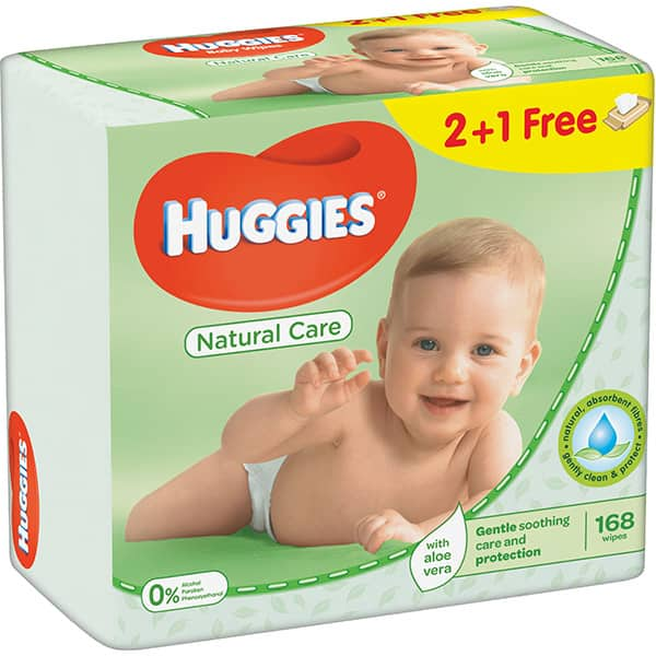 Servetele umede HUGGIES Natural Care, 2 + 1 pachete, 168 buc