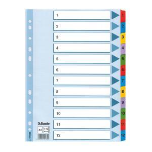 Separator ESSELTE 1-12, 225 x 297 mm, index laminat, 11 perforatii; format A4, alb