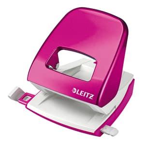 Perforator metalic LEITZ 5008, 30 coli, 2 perforatii, roz metalic