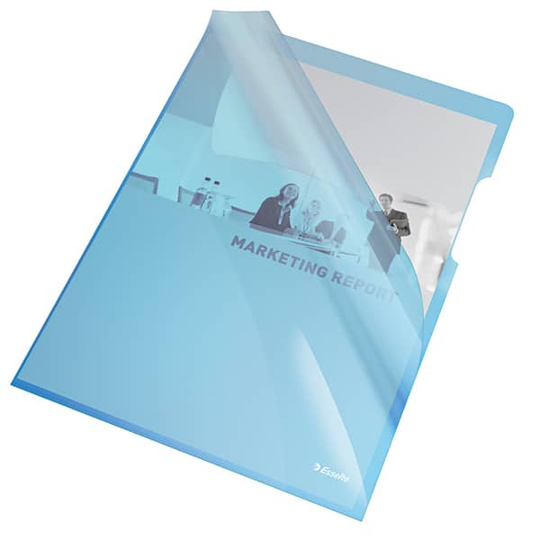 Mapa documente ESSELTE, A4, plastic, 25 bucati, albastru