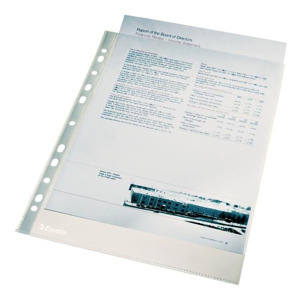 File de protectie documente ESSELTE, A4, cristal, 40 microni, 100 bucati