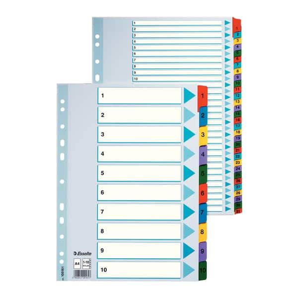 Separator ESSELTE A-Z, 225 x 297 mm, index laminat, 11 perforatii; format A4, alb