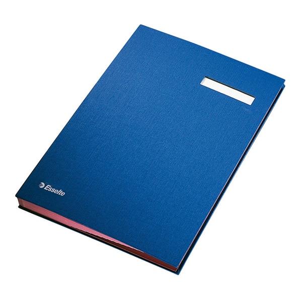 Mapa pentru semnaturi cu separatoare ESSELTE, 20 separatoare, albastru