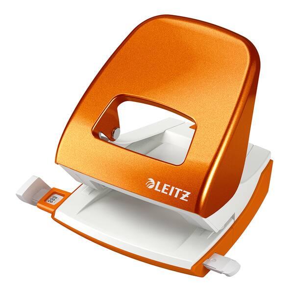 Perforator metalic LEITZ 5008, 30 coli, 2 perforatii, portocaliu