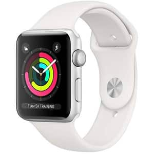 APPLE Watch Series 3 38mm Silver Aluminum Case, White Sport Band