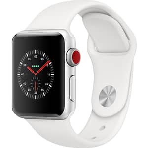 APPLE Watch Series 3 GPS + Cellular, 38mm Silver Aluminum Case, White Sport Band