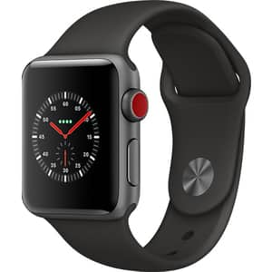 APPLE Watch Series 3 GPS + Cellular, 38mm Space Gray Aluminum Case, Black Sport Band