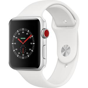 APPLE Watch Series 3 GPS + Cellular, 42mm Silver Aluminum Case, White Sport Band