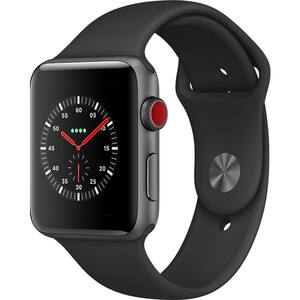 APPLE Watch Series 3 GPS + Cellular, 42mm Space Gray Aluminum Case, Black Sport Band