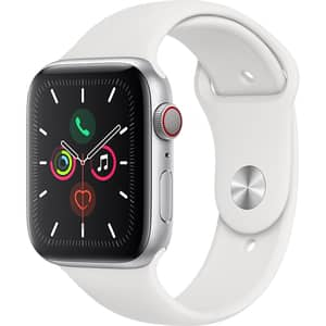 APPLE Watch Series 5 GPS + Cellular, 44mm Silver Aluminium Case, White Sport Band