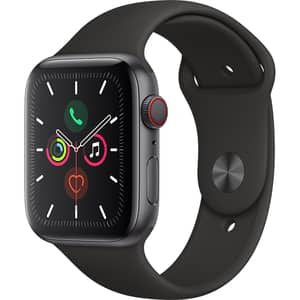 APPLE Watch Series 5 GPS + Cellular, 44mm Space Grey Aluminium Case, Black Sport Band
