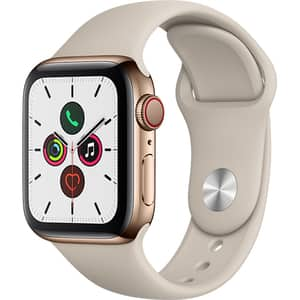 APPLE Watch Series 5 GPS + Cellular, 40mm Gold Stainless Steel Case, Stone Sport Band