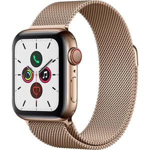 APPLE Watch Series 5 GPS + Cellular, 40mm Gold Stainless Steel Case, Gold Milanese Loop