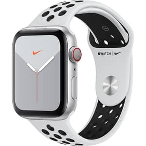 APPLE Watch Nike Series 5 GPS + Cellular, 44mm Silver Aluminium Case, Pure Platinum/Black Nike Sport Band
