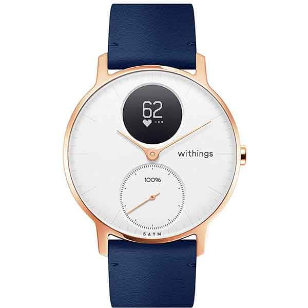 Smartwatch NOKIA Steel HR 36mm, Android/iOS, silicon, Large, Carcasa Rose Gold, Blue Band
