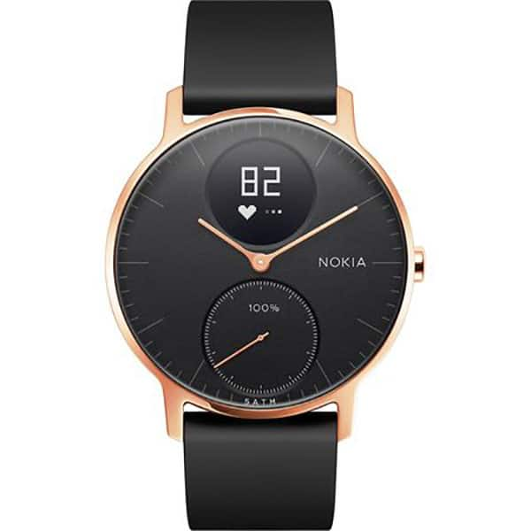 Smartwatch NOKIA Steel HR 36mm, Android/iOS, silicon, Small, Carcasa Rose Gold, Black Band