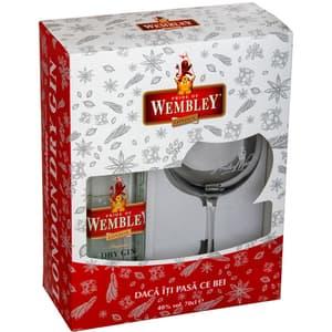 Gin Wembley London Dry, 0.7L + 1 pahar