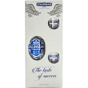 Vodka Stalinskaya Blue Vodka, 0.7L + 2 pahare