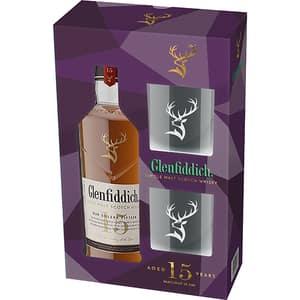 Whisky Glenfiddich 15 YO, 0.7l + 2 pahare