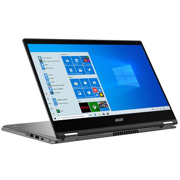"""Laptop 2 in 1 ACER Spin 5 SP514-54N, Intel Core i7-1065G7, 13.5"""" UHD Touch, 8GB, SSD 512GB, Intel Iris Plus Graphics, Windows 10 Pro, gri"""
