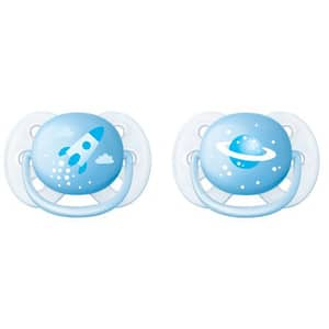 Suzeta ortodontica PHILIPS AVENT Ultra Soft SCF222/20, 0 - 6 luni, 2 buc, albastru deschis