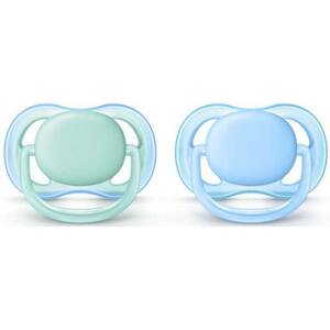 Suzeta ortodontica PHILIPS AVENT Ultra Soft SCF244/20, 0 - 6 luni, 2 buc, bleu - verde deschis