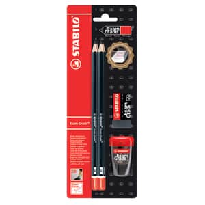 Set 4 creioane grafit STABILO Exam Grade + radiera si ascutitoare, negru