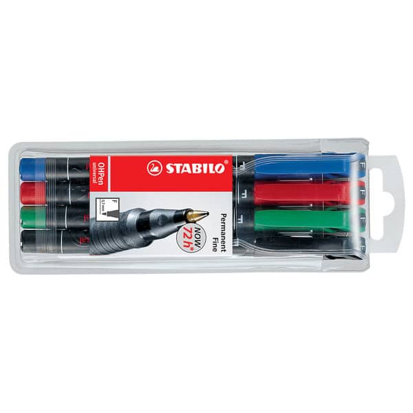 Marker permanent STABILO Universal OHP 842, 0.7 mm, 4 bucati (negru, rosu, albastru, verde)