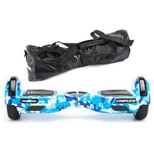 Hoverboard FREEWHEEL Complete, 6.5 inch, viteza 15 km/h, motor 2 x 350W, camuflaj albastru + geanta transport cadou