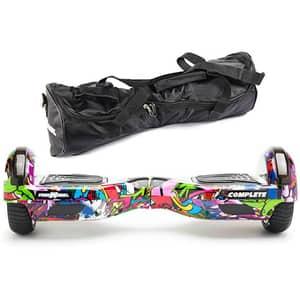 Hoverboard FREEWHEEL Complete, 6.5 inch, viteza 15 km/h, motor 2 x 350W, graffiti mov + geanta transport cadou